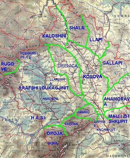 Harta E Lumenjve Te Kosoves